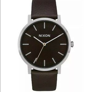 Nixon Mens Porter 40 Leather Wristwatch Gunmetal